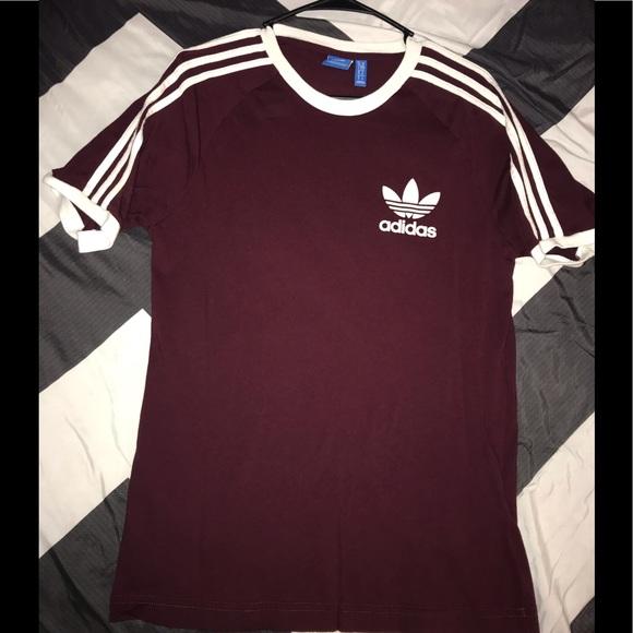 burgundy adidas shirt